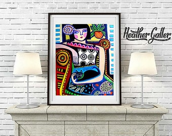 20's Flapper Art Deco Folk Art Wall Art Decor, Instant Art Print, Printable Digital Instant Download, Instant Digital