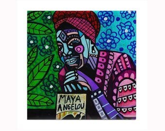 Maya Angelou Art Book Lover Tile by artist Heather Galler American poet memoirist civil rights activist Author Writer essays poetry