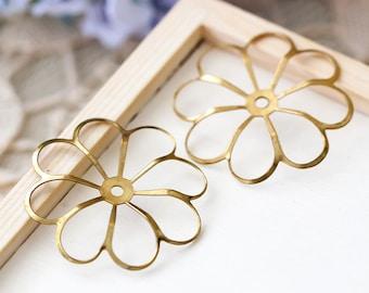 Large Vintage Flower Beads Metal Openwork Gold Flower Beads 36mm