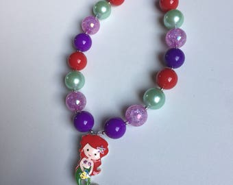 Ariel Birthday Party - The Little Mermaid Chunky Necklace - Ariel Necklace - The Little Mermaid Necklace - Little Girl Ariel Jewelry -