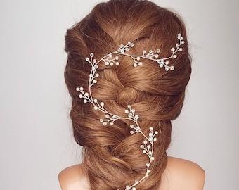 Crystal Vine Hair Wreath, Crystal Hair Vine, Bridal Headpiece, Wedding Hair Piece, Bridal Headband, Baby's breath Vine, Bridal Tiara