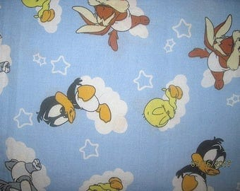Looney Tunes Fabric, Baby Looney Tunes, Cotton Fabric, 1 Yard, looney tunes space, fabric, material, btfq, remnant, vintage