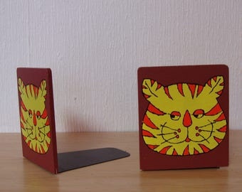 Tiger Face Bookends from the 70s