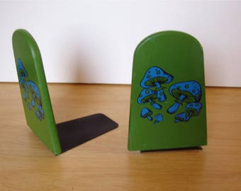 Blue Mushroom on Green Bookends from the 70s