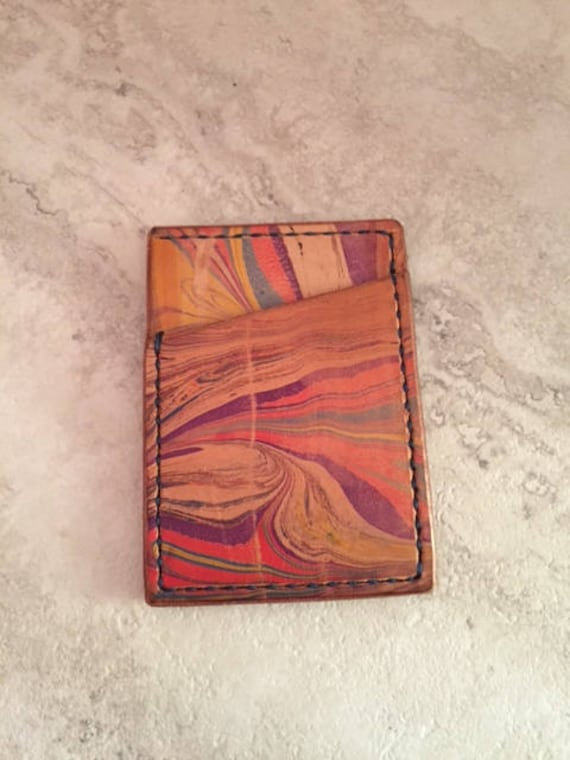 Handmade Marbled Leather Card Holder with Bill Pocket