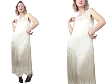1920s Ivory Silk Beaded Dress from Manahan Inc.
