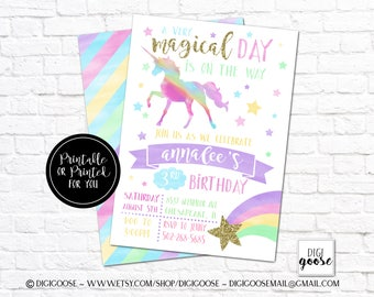 UNICORN Invitation, RAINBOW Invitation, Magical Birthday Invitation, Unicorn Birthday Invitation, Rainbow Birthday Invite, Unicorn Party