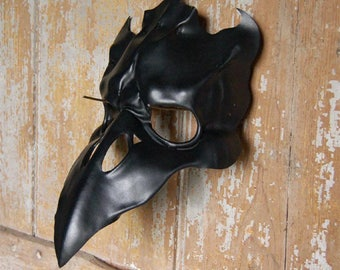 Leather mask of gothic black raven skull, crow, corvid