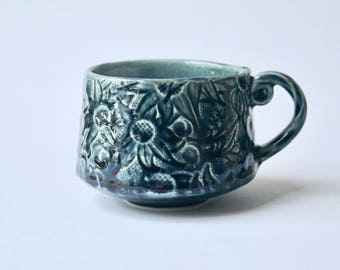 Cup with Australian Flannel Flower design - Dark blue stoneware ceramic cup