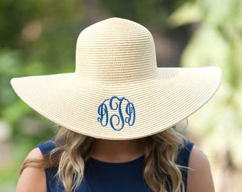 Natural Floppy Sun Hat | Can be monogrammed or personalized