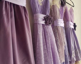 Custom Lilac bridesmaids dresses, light purple dresses, lace dress, lavender dresses, custom made, handmade, upcycled, vintage, wedding
