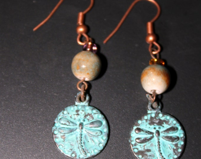 Aqua Patina Copper Dragonfly Charm and Porcelain Bead French Hook Earrings