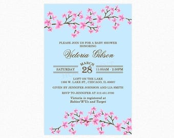 Cherry Blossom Baby Shower Invitation in Blue, Cherry Blossoms, Personalized, Printable and Printed