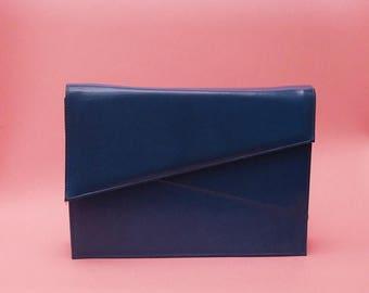 ON SALE Vintage 70s 80s Structured Bag // Blue Purse // Blue Clutch // Minimal Bag