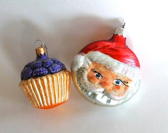 Vintage Glass Christmas Tree Cupcake an Santa Ornaments with Glitter accents!