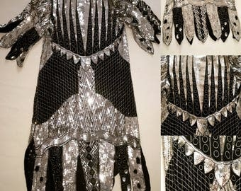 SALE-Vintage sequined beaded dress