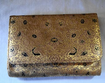 Vintage Soft LEATHER BROCADE Satin Lined HAND Purse Palm Purse Clutch Evening Bag Gold Satin Lined Small Purse Slides on Hand Purse