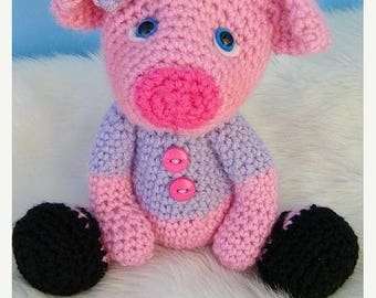 Summer Sale Crochet Pattern Pig by Teri Crews Wool and Whims Instant Download PDF Format Toy Pattern