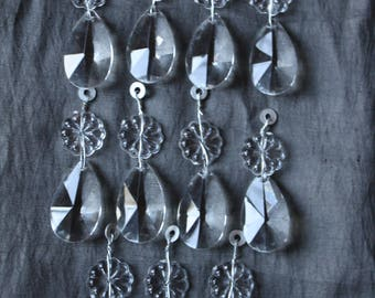 Lot of 11 Crystal Glass Tear Drop Prisms from Chandelier
