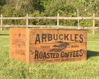 Antique Arbuckles Roasted Coffees Shipping Crate; Scarce Wooden Advertising Box