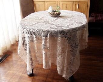 Antique Handmade Lace Tablecloth Ecru Filet Crochet Large 56 x 84