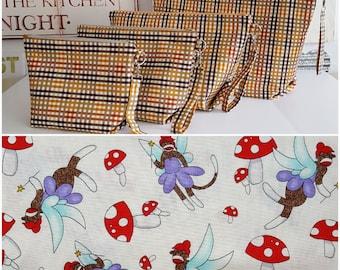 Fairy Sock Monkey: Custom Made to Order zipper bag with handle and inside zipper pocket