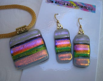 Dichroic Glass Jewelry India Wedding Colors Pendant and Earrings Set Fused Glass Iridescent Kiln Fired Home Crafted Jewelry Brilliant Color