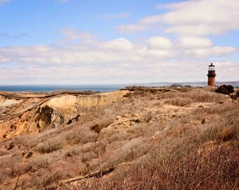 Martha's Vineyard, Gay Head Lighthouse, Clay Cliffs of Aquinnah, Large Wall Art, Coastal Art, Lighthouse Pictures, Home Interior Decor