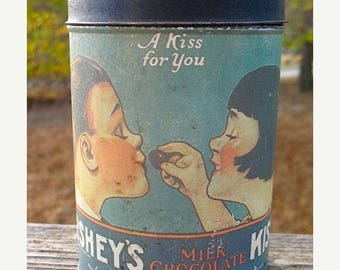 Vintage 1980 Herseys Kisses A Kiss For You Collectible Tin With Illustration from 1921 Retro Kitchen