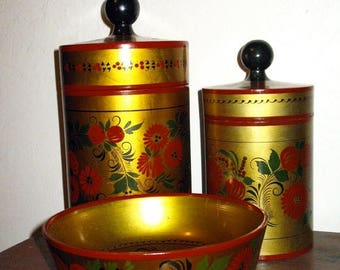 Gorgeous Shabby Chic Antique FOLK ART  Russian LacquerWare Bowl And Two Canister Set Circa The 1950s