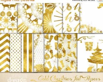 80% Off SALE Digital paper, Christmas Gold Foil Paper, Digital Scrapbook paper pack - Instant download - 12 Digital Papers - Gold Foil
