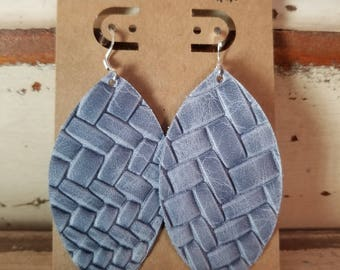 Leather Earrings, Leather Jewelry, Distressed, Blue, Braided, Statement Earrings, 100% Leather, Leaf, Dangle, Drop, Lightweight