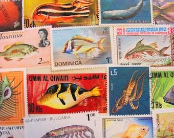 Under The Sea 50 Premium Vintage Sea Creatures Postage Stamps Aquarium Whale Invertebrates Jellyfish Seashell Lobster Fishing Marine Biology