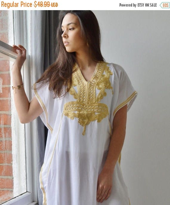 Autumn Dress 20% OFF/ Resort Caftan Kaftan Marrakech Style- White with Gold Embroidery, great for beach cover ups, resort wear, loungewea