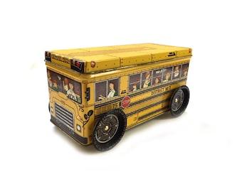 Vintage, Keller Charles Tin, Yellow School Bus, Keepsake Box