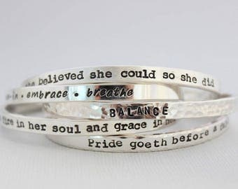 she has fire in her soul and grace in her heart, motivational message, sterling silver inspirational quote cuff bracelet, custom stamped