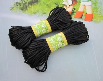 20 yds satin cord, Black satin cord, satin strings, silk strings, silk cord, jewelry link, bracelet necklace string, Mala string 2mm