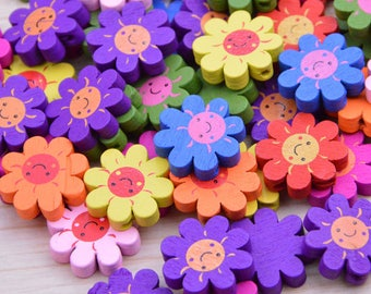 50 Assorted color wooden beads, Sunflower Painted wooden beads, Jewelry wood beads, Colorful wood flower, wood flower pendant 20mm
