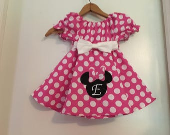Minnie Mouse dress, pink minnie mouse dress, appliqued Disney, Pink polka dot dress, (available in sizes 12 months, 18 months, 2t, 3t, 4t,