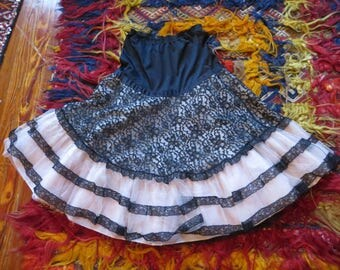 Darling 50s Tiered Black Lace with Pink Netting Petticoat/Skirt