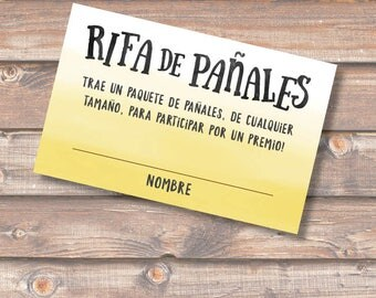 Diaper Raffle Spanish Amarillo Rifa de Pañales Tarjetas Baby Shower Niño Niña Yellow Ombre Sorteo Boletas Rifa Pañales - INSTANT DOWNLOAD