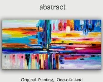 """sale Original oil Painting Wall Art Abstract Painting 48"""" Canvas  Wall Decor Original Modern Home Deco, Wall Hanging,  by Tim Lam"""
