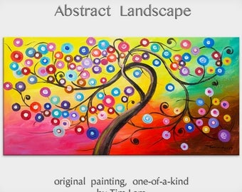 """sale Art, Painting, Texture oil paintings, Colorful Home Art, modern wall painting, huge abstract art canvas, Blossom 48"""" x 24"""" by Tim Lam"""
