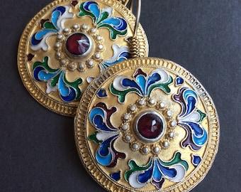 FREE SHIPPING  ISTANBUL  Earring vintage antique uzbek russian inspired sterling enamel garnet