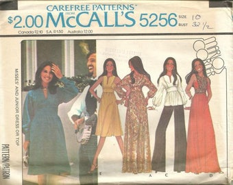 1970s Slit Neckline Evening or Day Dress Tunic High Waisted McCall's 5256 Uncut FF Size 10 Bust 32.5 Women's Vintage Sewing Pattern