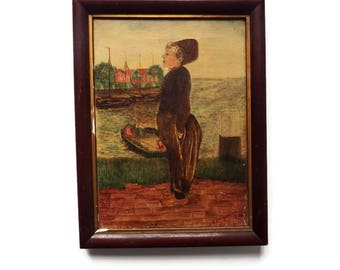 Antique  Oil on Canvas Painting / Signed Framed Vintage Folk Art Style Oil in Wood Frame/ Dutch Peasant