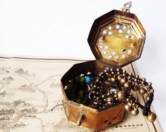 Vintage Octagonal Brass Box, Cricket Trinket Box, Pierced Keepsake Box with Handle