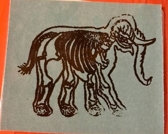 colored denim cloth screen printed elephant skeleton patch