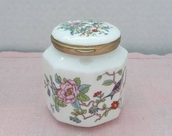 "Aynsley ""Pembroke"" Octagonal Fluted Bone China Apothecary Jar with Hinged Lid, Made in England"
