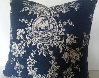 All Sizes / Waverly Country House Toile Pillow Cover / French Country / Indigo and Cream / Blue / Navy
